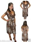 LADIES WOMANS LEOPARD ANIMAL PRINT EVENING PARTY SUMMER HOLIDAY DRESS 8-26 UK