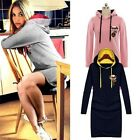 Girl Fashion Slim Sport Hoodie Pullover Jumper Sweater Long Shirt Mini Dress -LA