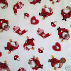Cream Cheeky santa Christmas fabric 100 % cotton per fat quarter/half metre