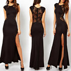 Sexy Black Lace Sleeveless Backless Prom Dress Wedding Formal Evening Long Gown