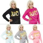 New Womens Quilted Fleece Gold Foil Juicy Print Sweatshirt Sport Top Size S M L