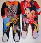 MINNIE or MICKEY MOUSE Toddler 2T 3T 4T 5T Footed Pajamas SLEEPER Pjs DISNEY