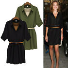 Womens Chiffon Oversized Short Sleeve Belted Loose Fit Top Tunic Dress Shirt