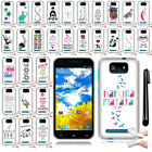 For BLU Studio 5.5 D610A Art Design TPU SILICONE SKIN Case Phone Cover + Pen