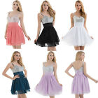 Hot Short Chiffon Evening Formal Bridesmaid Wedding Ball Gown Prom Party Dresses