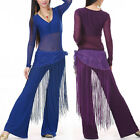 SH13# Long Fringe Sequins Belly Dance Hip Scarf Belt 10 Colors