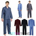 Mens Cargo Bay Woven Cotton Polyester Button Shirt Pants Pyjamas Bottoms Set