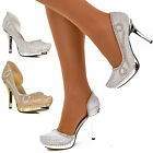 Womens Ladies Sparkly High Heels Diamante Cut Out Side Stiletto Party Shoes Size