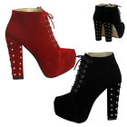 Ladies Women Studded Heel Boots Faux Suede Club Winter Shoe Size UK 3 4 5 6 7 8