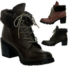 New Ladies Rugged Boots Military Army  Grip Sole Woollen Collar Warm Shoes Size