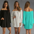 WOMENS BOHO SOLID RUFFLE SLEEVE OFF SHOULDER TUNIC SUMMER BEACH DRESS MINI DRESS