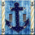 Light Switch Plate Cover - Sailor anchor starry back blue - Rope boat sea deco