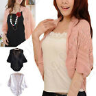 New Lady Hollow Tops Bat Sleeve Cardigan Knit Sweater Coat Blouse Crochet Bolero