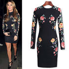 Womens Black Vintage Floral Lace Long Sleeve Bodycon Ladies Party Evening Dress