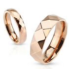 316L Stainless steel Diamond Faceted Rose Gold IP Band Ring, 4mm wide size 5 - 8
