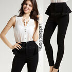 Women Stretchy Peplum Skinny Pants High Waist Slim Straight Jeggings Fit Jeans