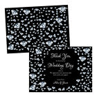 Personalised wedding thank you cards SILVER BLACK DIAMONDS FREE ENVELOPES & DRAF