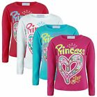 GIRLS LONG SLEEVE TOP DIAMANTE PRINCESS PRINT JERSEY T-SHIRT KIDS FASHION 1-12Y
