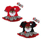 Baby Girl Christmas Dress, Santa & Leopard tutu Dress & Headband Set Age 1 2 3 4