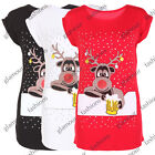 LADIES NOVELTY RUDOLPH REINDEER RED NOSE CHRISTMAS XMAS T SHIRT TOP SIZE 8-14