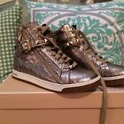 NIB Michael KORS Glam Studded High Top Crinkled Metal Leather Sneakers Champagne
