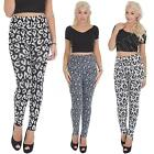 Womens Knitted Leggings Leopard Animal Print Patterned Trousers Size 8 10 12
