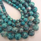 "Jade round dyed ocean blue beads. 15.5"" strand. Choose size 6 - 12mm SP36"