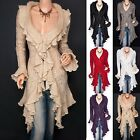 Womens Flounce Ruffles Knit Collar Asym Hem Cardigan Long Sweater Jacket Coats