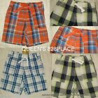 NWT CRAZY 8 Boys 2 2T 3 3T Orange Green Plaid Shorts 100% Cotton NEW