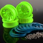 "SET RC 1 10 Rock Crawler Car 1.9"" Green Beadlock Wheel Rim 4040 SCX10 CC01 D90"