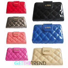 LYDC Designer Flapover Patent Quilted Zip Wallet Purse Clutch Purse Gift Box