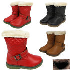 Kids Girls Winter Mid Calf Boots Quilted Faux Leather Fur Inner Warm Shoes Size