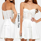 Women Sexy White Lace Bodice Top Underwire Push Up Unpadded Cup Strapless Dress