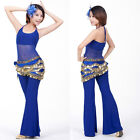 SF25# Belly Dance Costume (See-through Halter Top,Hip Scarf,Pants) 9 Colours