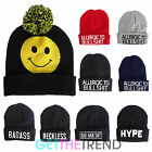 Mens Novelty Statement Black Winter Beanie Hat Bobble Reckless Hype Knitted Hat