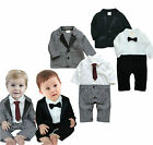 Baby Boy Formal Wedding Tuxedo Suit & Jacket Set, Bow & Tie Size 000 00 1 2 NEW