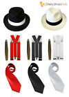 Mens Gangster Pimp Hat Tie Braces + Cigar 1920's Mafia Adult Fancy Dress Costume