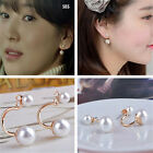 Women New Fashion Lady Gold Filled Double White Freshwater Pearl Stud Earrings