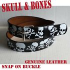 Skull and Bones graphic belt snap on buckle genuine leather ROGER SKULL