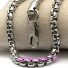 "Mens 4mm 3.6mm 2.8mm 316L Stainless Steel Square Box Chain Necklace 8"" to 46"""