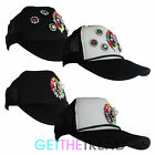 Womens Celeb Inspired Diamante Brooch Baseball Cap Ladies Trucker Peak Cap Hat