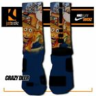CRAZY DEER Custom Nike Elite Socks basketball christmas blue santa claus