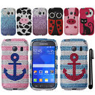 For Samsung Galaxy Ace Style S765C DIAMOND CRYSTAL HARD Case Phone Cover + Pen