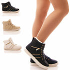 LADIES WOMENS HI TOP TRAINER BOOTS SNEAKERS FUR LINED WINTER WARM SHOES SIZE