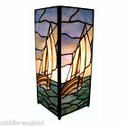 "TIFFANY STYLE TABLE LAMP 11"" SAILING BOAT DESIGN 5""SQUARE GLASS BUY PAIR SAVE10%"