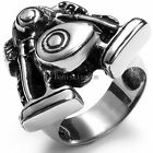 Black Silver Stainless Steel Casting Harley Engine Biker Men's Ring Size 8-11