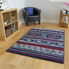 Navy Red Off White Nautical Yacht Shell Themed Milan Comfortable Beach House Rug