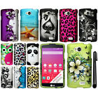 For LG Tribute LS660 Rubberized PATTERN HARD Case Phone Cover + Pen