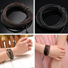 Mens Women Multilayer Braided Waxed Cord + Real Leather Wrap Adjustable Bracelet