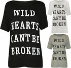 New Womens Celeb Wild Hearts Print Ladies Short Sleeve Baggy T-Shirt Top 8-14